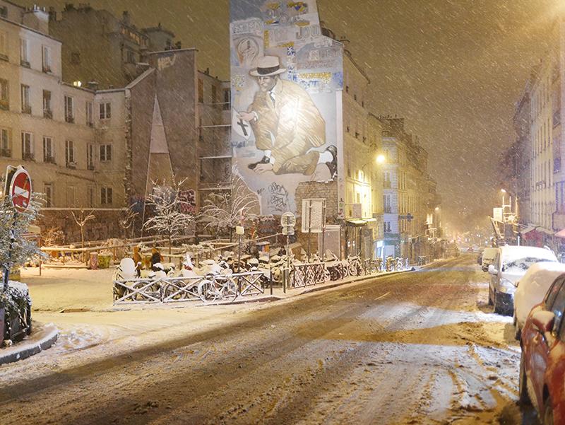 Rue de Belleville sous la neige