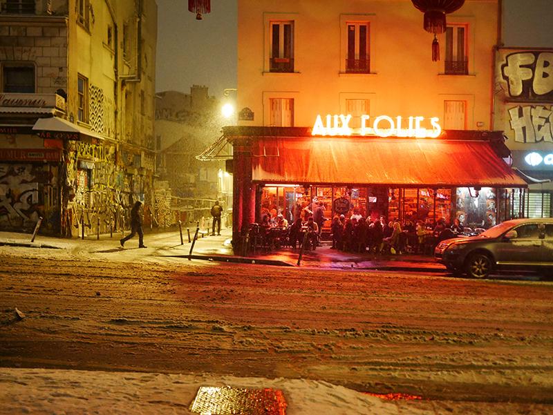 Bar le Folies sous la neige